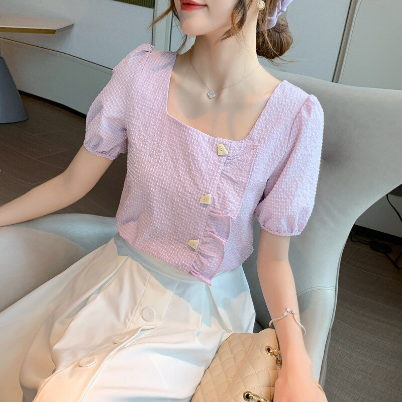 2020 Summer Women's Ruffle edge Chiffon Blouses Female Casual Style square neck Shirt Puff Sleeve Sweet Solid Color Blouse