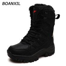 BOANXIL Couple New 2021 High Top Hiking Shoes Winter Anti-Slip Warm Snow Shoes Outdoor Climbing Trek