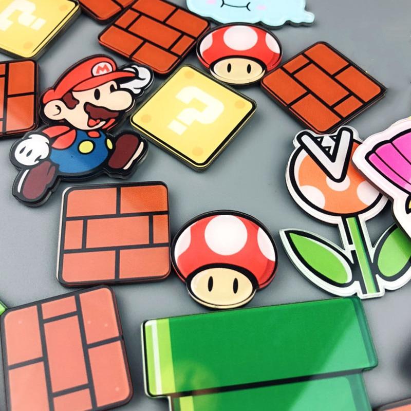 17/22/28/29 Uds Super Mario imanes de frigorífico dibujos de Japón de dibujos animados para juegos caja de hielo