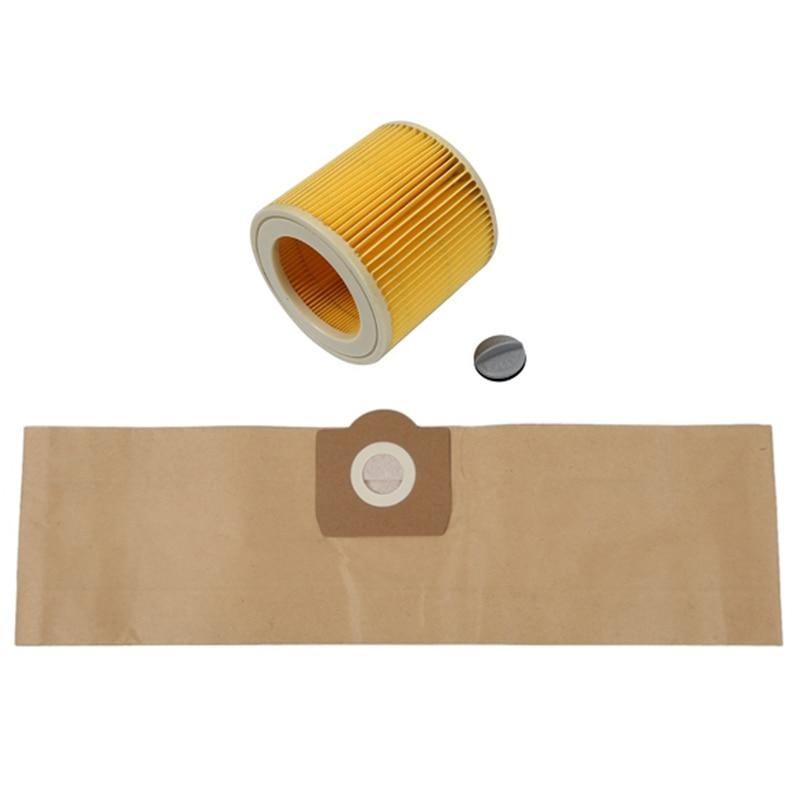100% Brand New Durable 5Pcs Dust Bag 1Pcs Filter for KARCHER WD3 Premium WD 3,300 M WD 3,200 WD3.500 P 6,959-130 Vacuum Cleaner