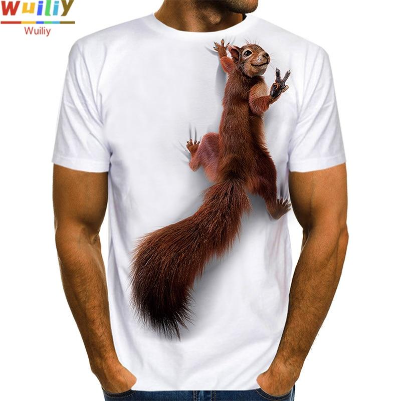 Men's Squirrel T Shirt 3D Print Shirt Animal Graphic Tees Lovely Pattern Tops Men/Women Cute Puppy Face Tee Funny Pet T-shirt