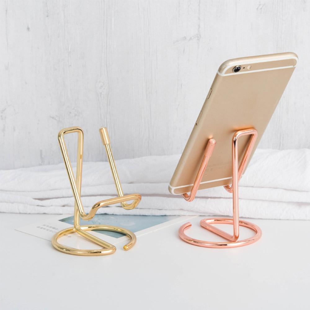 Display Stand Nordic Wrought Iron Mobile Phone Tablet Desktop Reading Organizer Storage Rack Decorative Desk Accessories