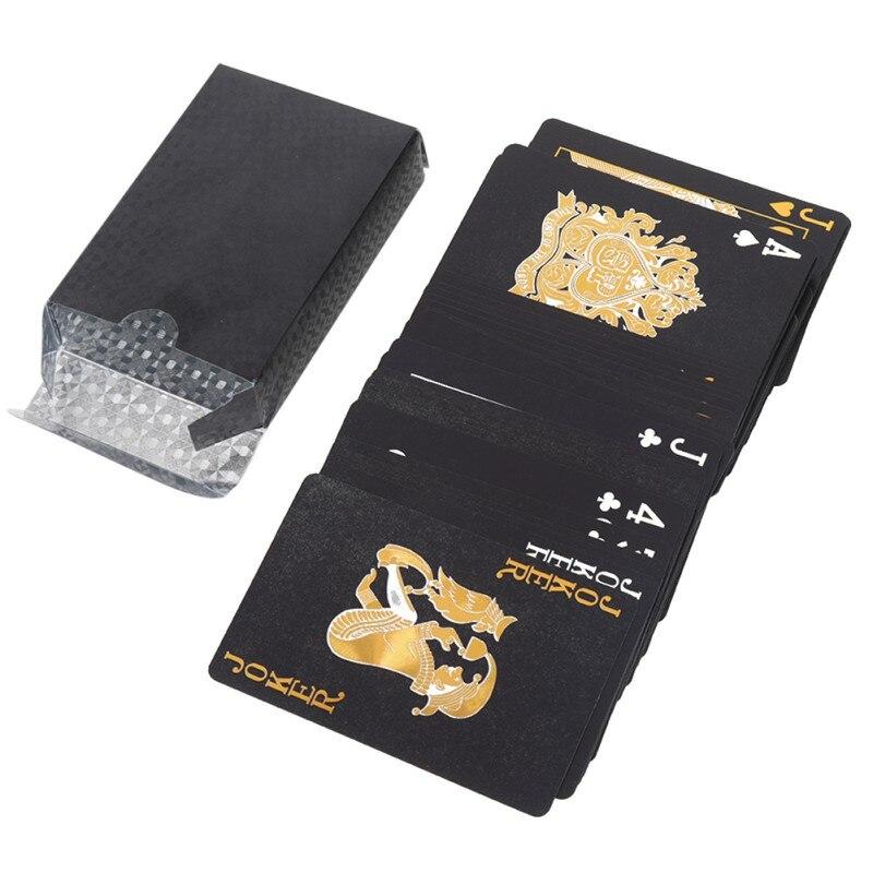 Водонепроницаемые игральные карты, пластиковые игральные карты, карты для покера, роскошные крутые игральные карты из черной фольги для по...