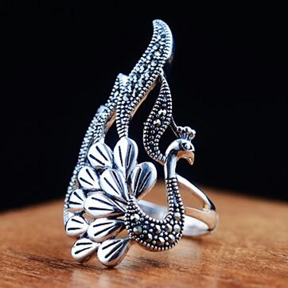 S925 plata pura mujer tailandesa plata restaurar maneras antiguas proceso medio dedo Pavo Real moda al por mayor anillo de plata