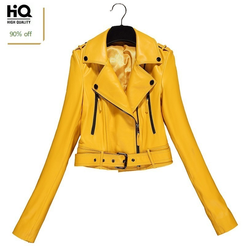 Spring Autumn Short Genuine Leather Jacket Women Sheepskin Motorcycle Clothing Female Korean Sexy Slim OL Zippers Design Jacket