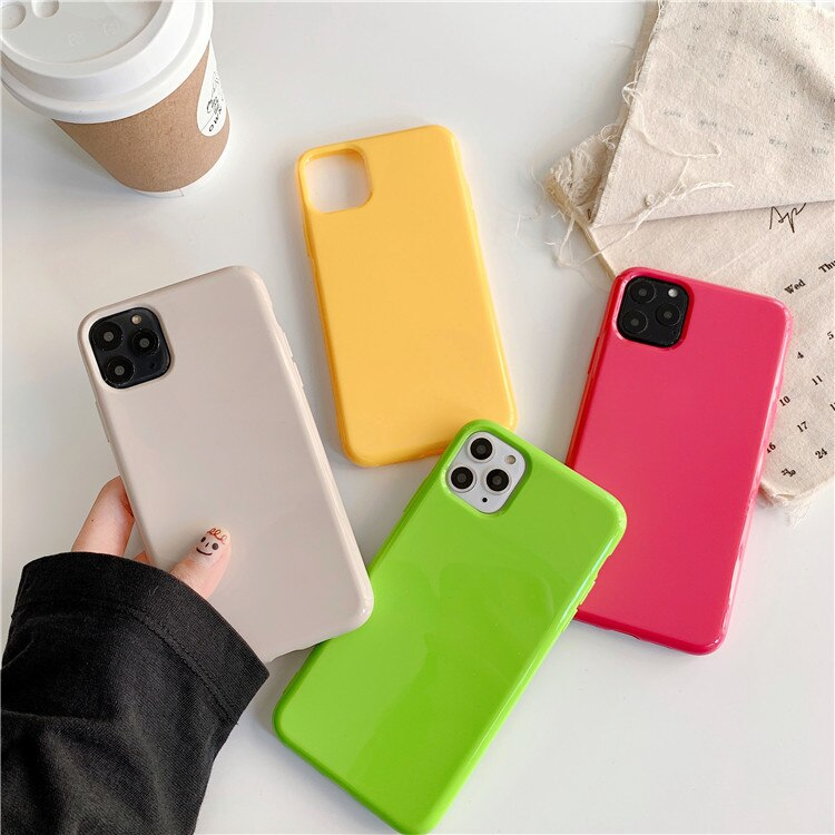 Capa de telefone para iphone 11 pro max x xsmax xr xs 6s 7 8 puls caso cor sólida capa de silicone macio