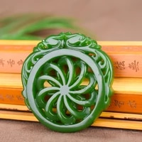 natural green chinese jade dragon pendant necklace double sided hollow carved windmill fashion jewelry amulet men women gifts