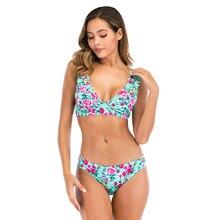 2020 Push Up Bikini ensemble Maillot de bain imprimé fleuri femmes à volants Maillot de bain nouveau pansement Maillot de bain vêtements de plage Maillot de bain femme