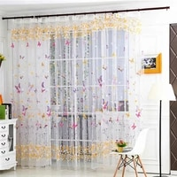 curtain butterfly yarn glass printing screen sample window curtain tulle window screens sheer voile door curtains drape