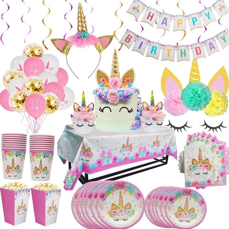 Rainbow Unicorn Birthday Party Disposable Tableware Set Serves 8 Kids Favor Unicorn led light Baby S
