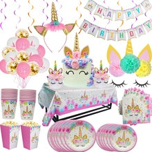 HUHULE Unicorn Disposable Tableware Set For Girl Birthday Party Decoration Kids Favors Unicornio Ban