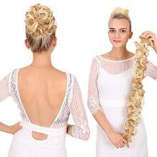 Chignon synthétique bouclé à bande longue et pelucheux   Chignon pour mariée, coiffure pour femmes, résistant à la chaleur