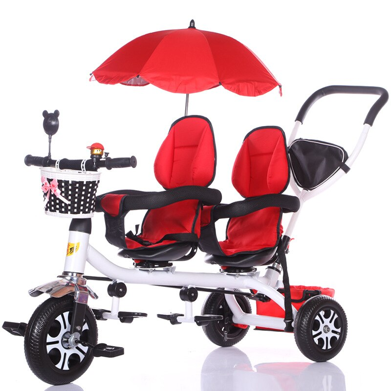 Twin Baby Stroller Double Seat Child Tricycle Kids Bike Rotatable Seat Three Wheel Stroller Protable Pushchair enlarge
