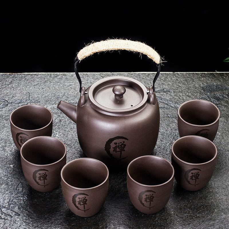 كبير ييشينغ الأرجواني طقم شاي الرمل السيراميك الكونغ فو إبريق الشاي ، اليدوية الأرجواني الرمال إبريق الشاي الشاي حفل كبير (1pot + 6 أكواب)