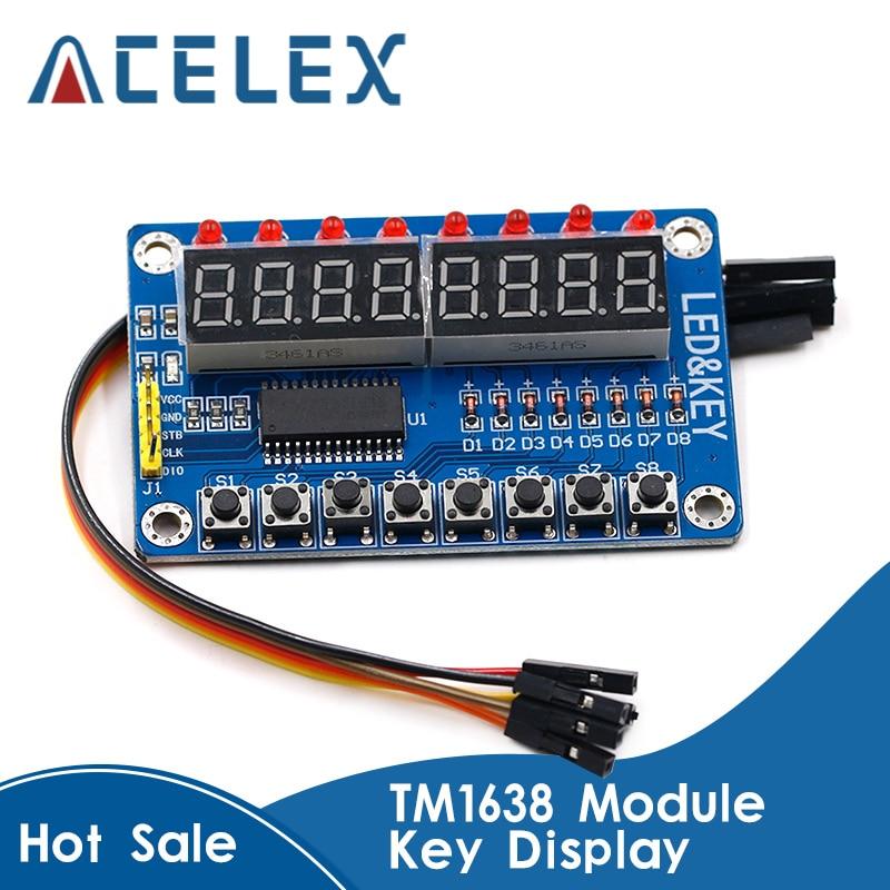 Pantalla LED TM1638 Módulo de tubo Digital de 8 Bits AYR 7 segmentos 8 Bits 0,36 pulgadas rojo TM1638 Panel de tablero de pantalla LED clave