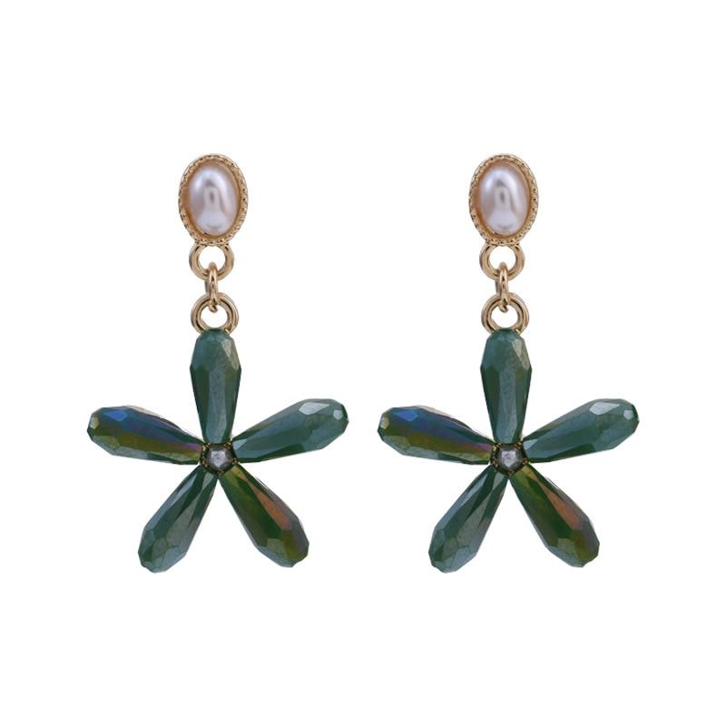 2020 New Arrival Trendy Multicolor Crystal Flower Petal Women Dangle Earrings Sweet Bohemian Drop Earring for Girl Jewelry Gift