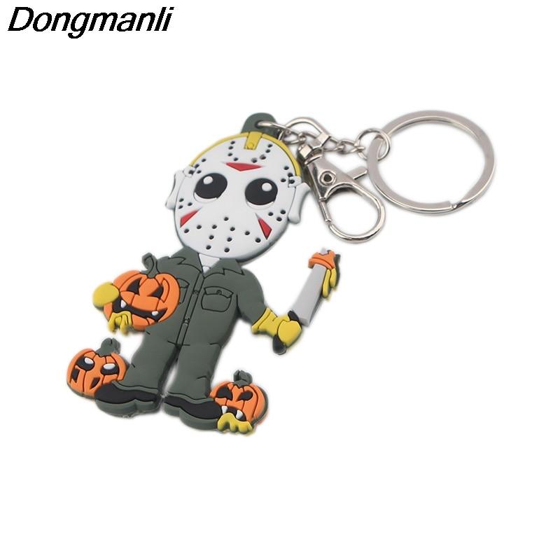 P4068 Dongmanli Halloween Viernes 13 figura de llavero PVC silicona doble cara coche llavero regalos