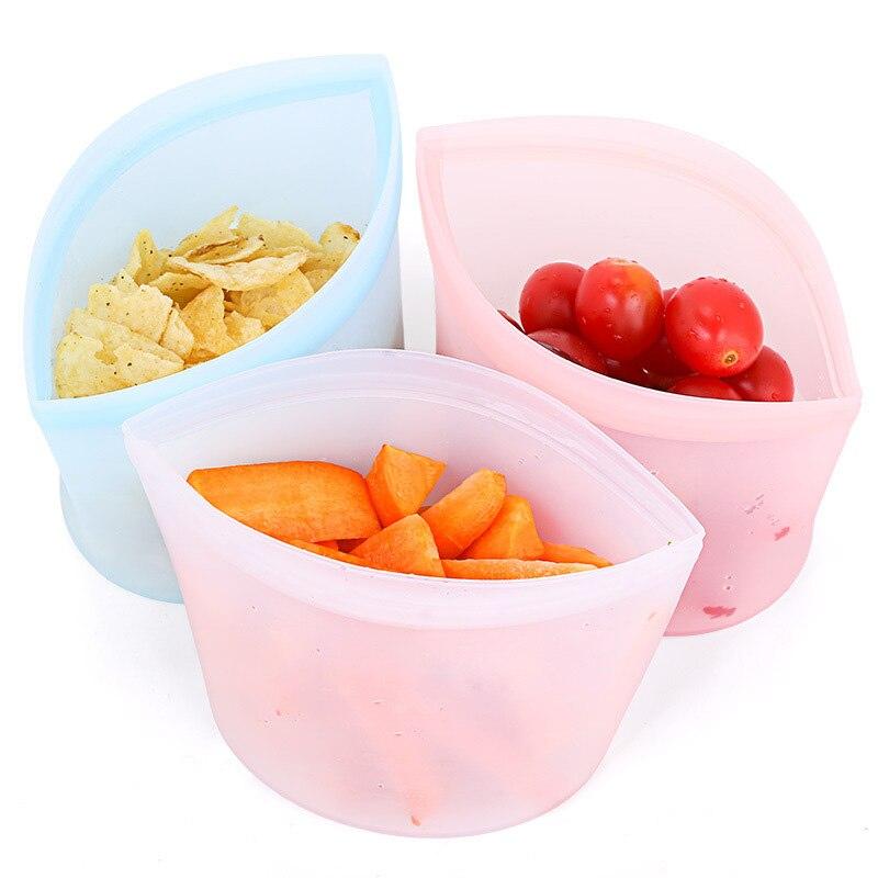 Bolsa Ziplock reutilizable con cierre hermético, contenedores a prueba de fugas, bolsa de silicona para alimentos, bolsa con cremallera, contenedores de almacenamiento para Cocina