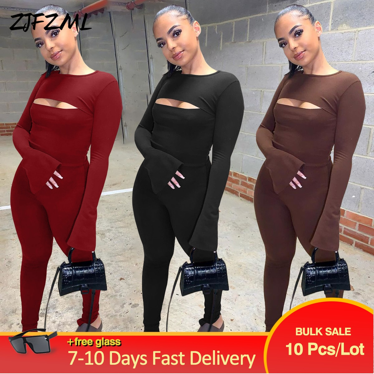 Bulk Lots Wholesale Items Black/burgundy/coffee Rompers Womens Jumpsuit Autumn New Front Cut Out Long Flare Split Sleeve Overall