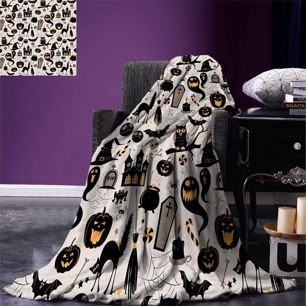 Vintage halloween jogar cobertor dos desenhos animados de halloween jack o lanterna tombstone crânios e ossos cobertor quente para cama sofá luz