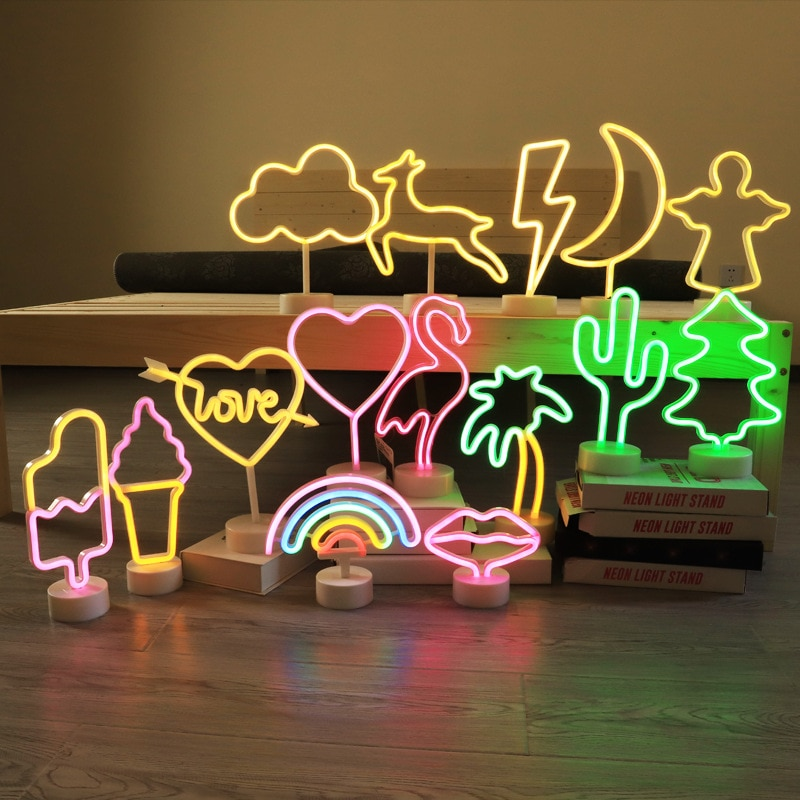Neon Sign USB LED Decoration Unicorn Flamingo Lamp Moon Rainbow For Home Kid Room Bedside Night Light Decor Light For Christmas