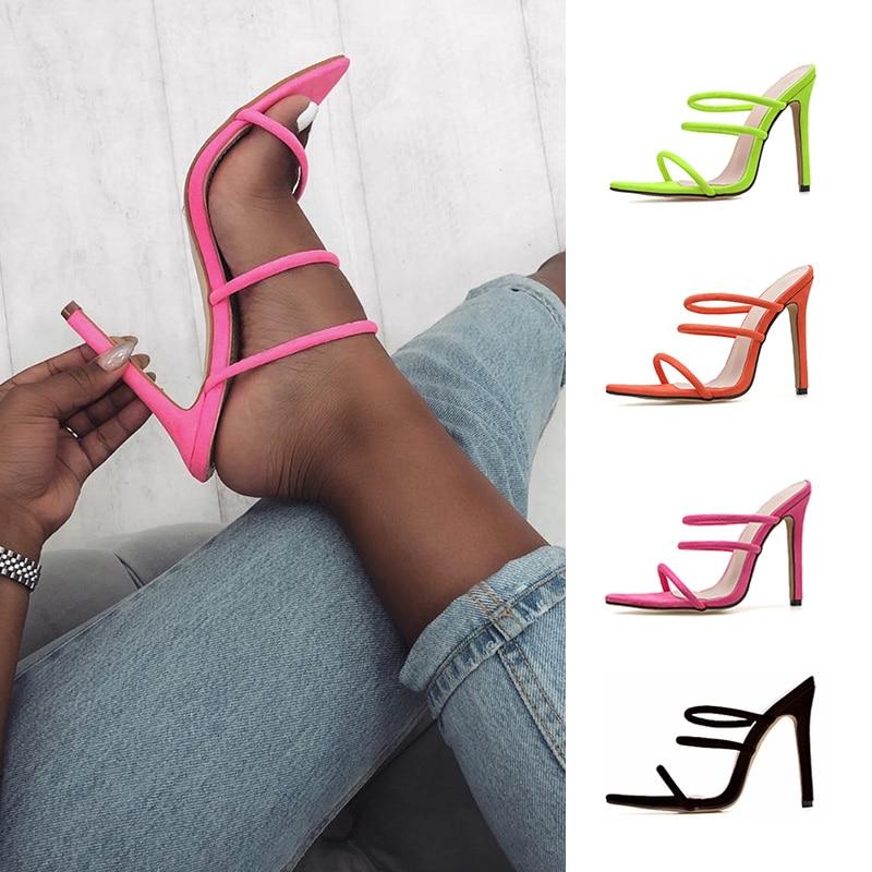 Zapatos de tacón Dilys fino de Color brillante con huecos, tacones romanos de gran tamaño, zapatos para mujer 35- 43, sandalias de suministro a través de la frontera