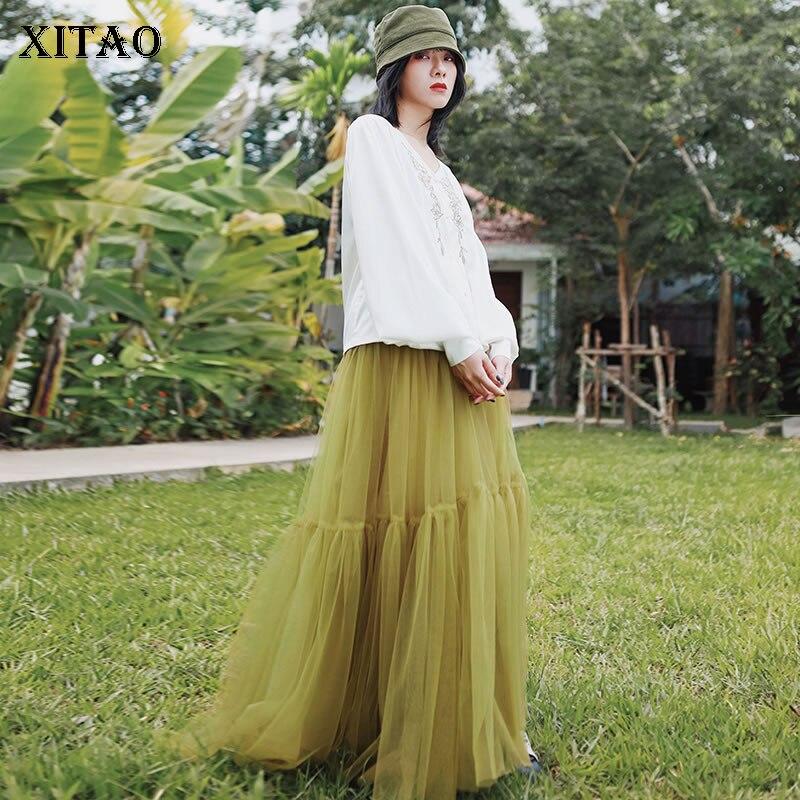 XITAO Lace Women Skirt Fashion New 2020 Spring Elastic Waist Patchwork High Wist Goddess Fan Minority Casual Skirt DMY3222
