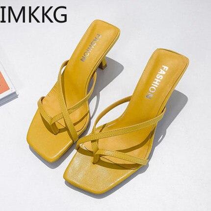 Thin Heel Ladies Sandals Leisure Bind Beach Shoes Fashion High Heels Shoes 2019 Women Sandals Leather Summer F90193