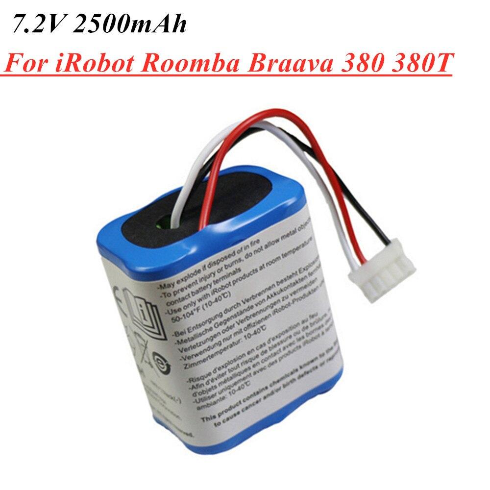 1 Uds 7,2 V 2500mAh Ni-MH batería recargable para iRobot Roomba Braava 380 de 380T de 5200c AA de NiMH de 2500mAh 2.5Ah batería