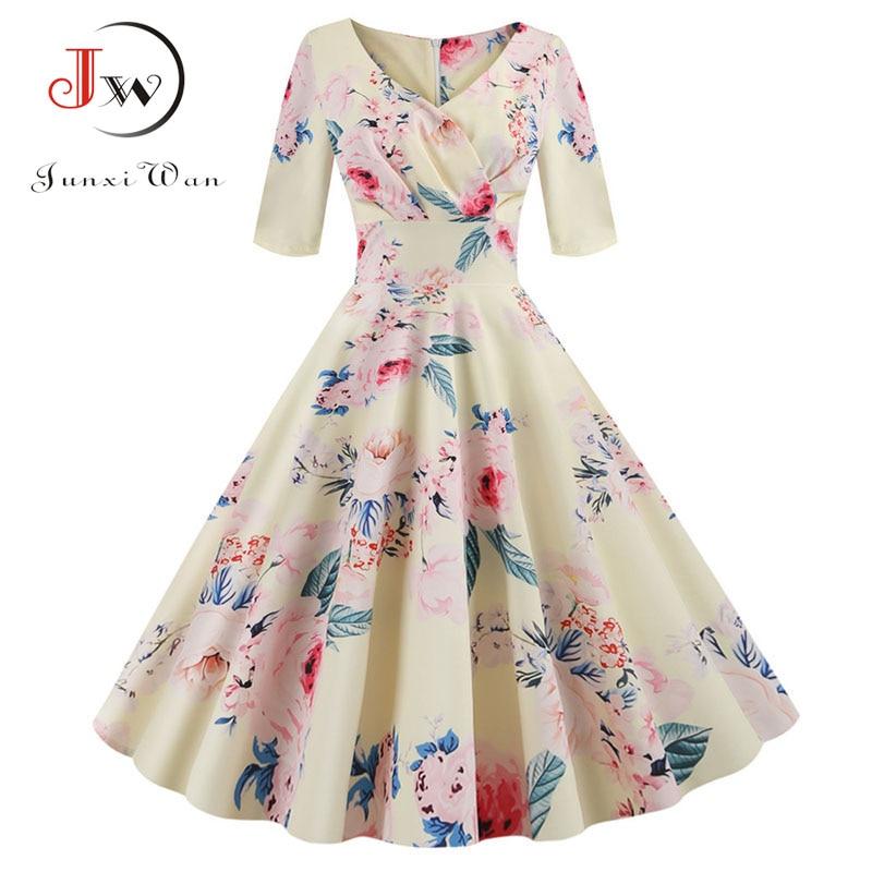 Frauen blume drucken Herbst kleid Casual Winter halb hülse Elegante Vintage kleid Robe femme plus größe pinup büro party vestidos