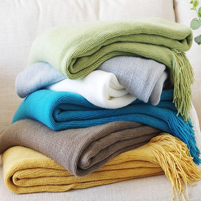 Manta multifunción para sofá, fundas de chenilla sólidas, toalla, Cobertor de polvo con borlas, mantas de aire acondicionado para cama