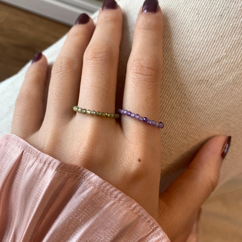 Aomu 2020 resina do vintage fino anel coréia primavera colorido cristal grânulos resina anéis para festa feminina roxo verde jóias presentes