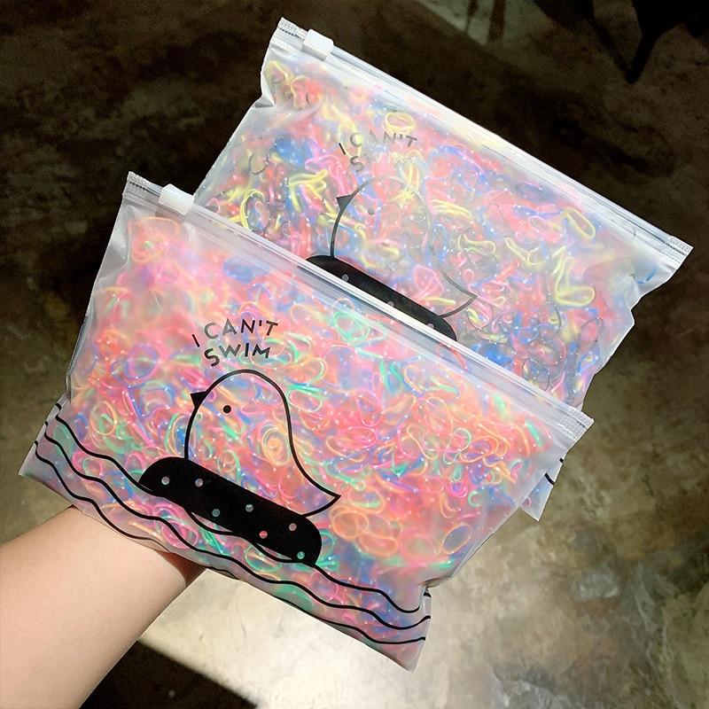 CN 1000 unids/pack de bandas de goma desechables coloridas para niñas, soporte de coleta de goma, banda elástica para el cabello para niños, accesorios para el cabello