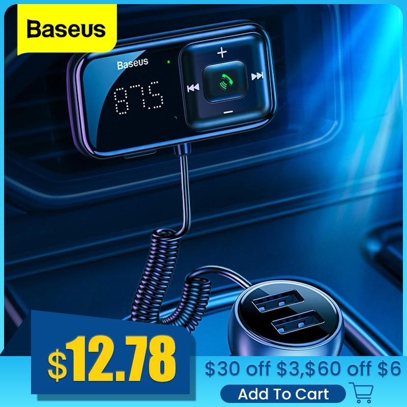 Фото - Baseus Car FM Transmitter Bluetooth 5.0 3.1A USB Car Charger AUX Handsfree Wireless Car Kit Auto FM Radio Modulator MP3 Player fm трансмиттер baseus t typed bluetooth mp3 charger with car holder dark coffee ccall tm12