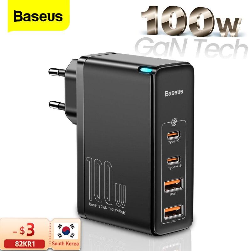 Baseus 100 واط غان USB نوع C شاحن PD QC تهمة سريعة 4.0 3.0 USB-C Type-C شحن سريع شاحن آيفون 12 برو ماكس ماك بوك