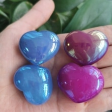 4pcs Natural Rose quartz Crystal Puffy heart Electroplating aura Heart Shaped Stone