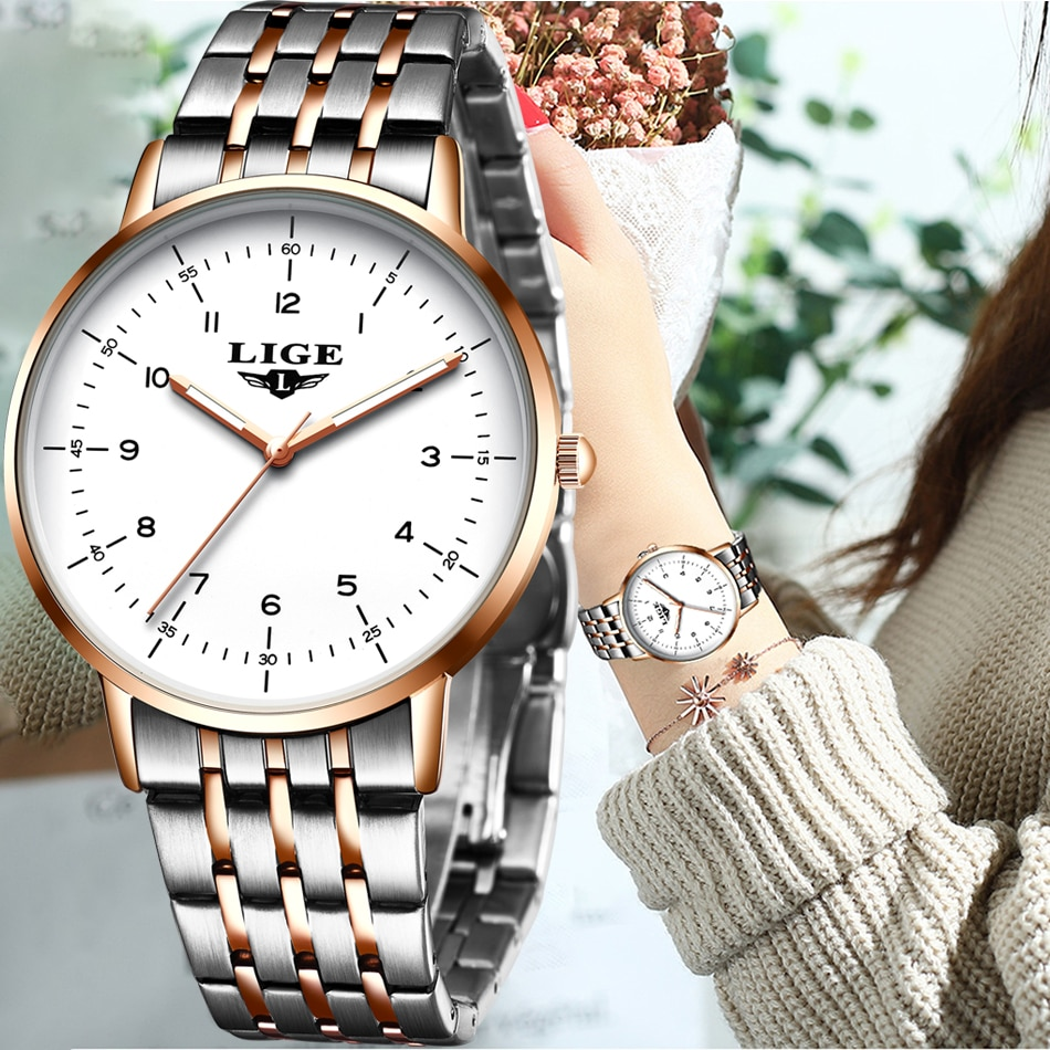 LIGE 2021 NEW Rose Gold Women Watches Luxury Watch Women Fashion Full Steel Ladies Bracelet Watches Waterproof Quartz Wristwatch enlarge