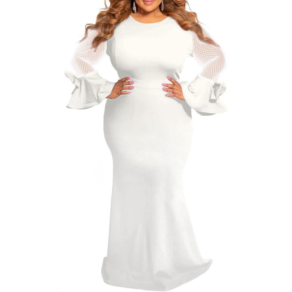 Платья размера плюс для женщин 4xl 5xl 6xl из прозрачной сетки с длинным рукавом Элегантные африканские женские свадебные вечерние длинные платья макси