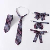 new fashion jk ties set for girls jk uniform women casual plaid necktie japanese style neckwear school student cute accessories
