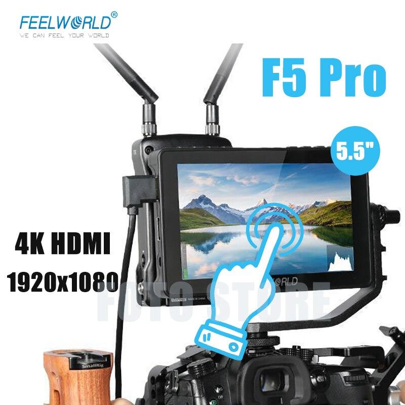 Feel world F5 Pro V2 5.5 بوصة على كاميرا DSLR جهاز المراقبة الميدانية ثلاثية الأبعاد LUT شاشة تعمل باللمس IPS 4K HDMI-متوافق لنقل لاسلكي
