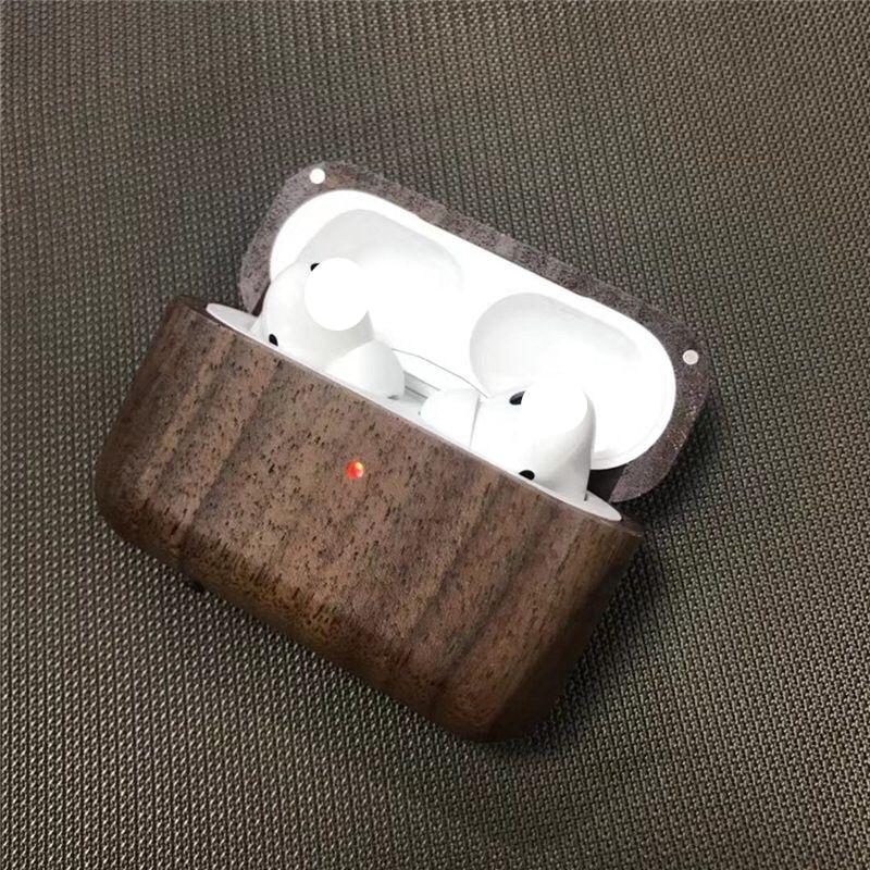Para AirPods Pro Carcasa protectora rígida funda de madera sólida funda a prueba de golpes para Airpods 3 estuche de auriculares accesorio