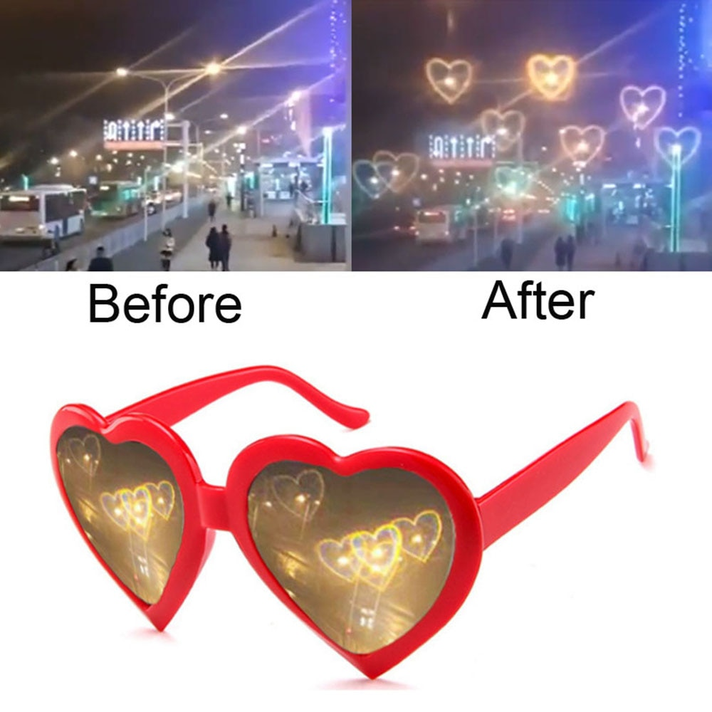Love Heart Shaped Effects Glasses Watch The Lights Change to Heart Shape At Night Diffraction Glasse