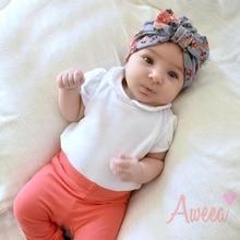 New Designer Newborn Baby Beanies Hat Cotton Print Floral Soft Bow Knot Baby Cap Kids Best Baby Hair Accessories