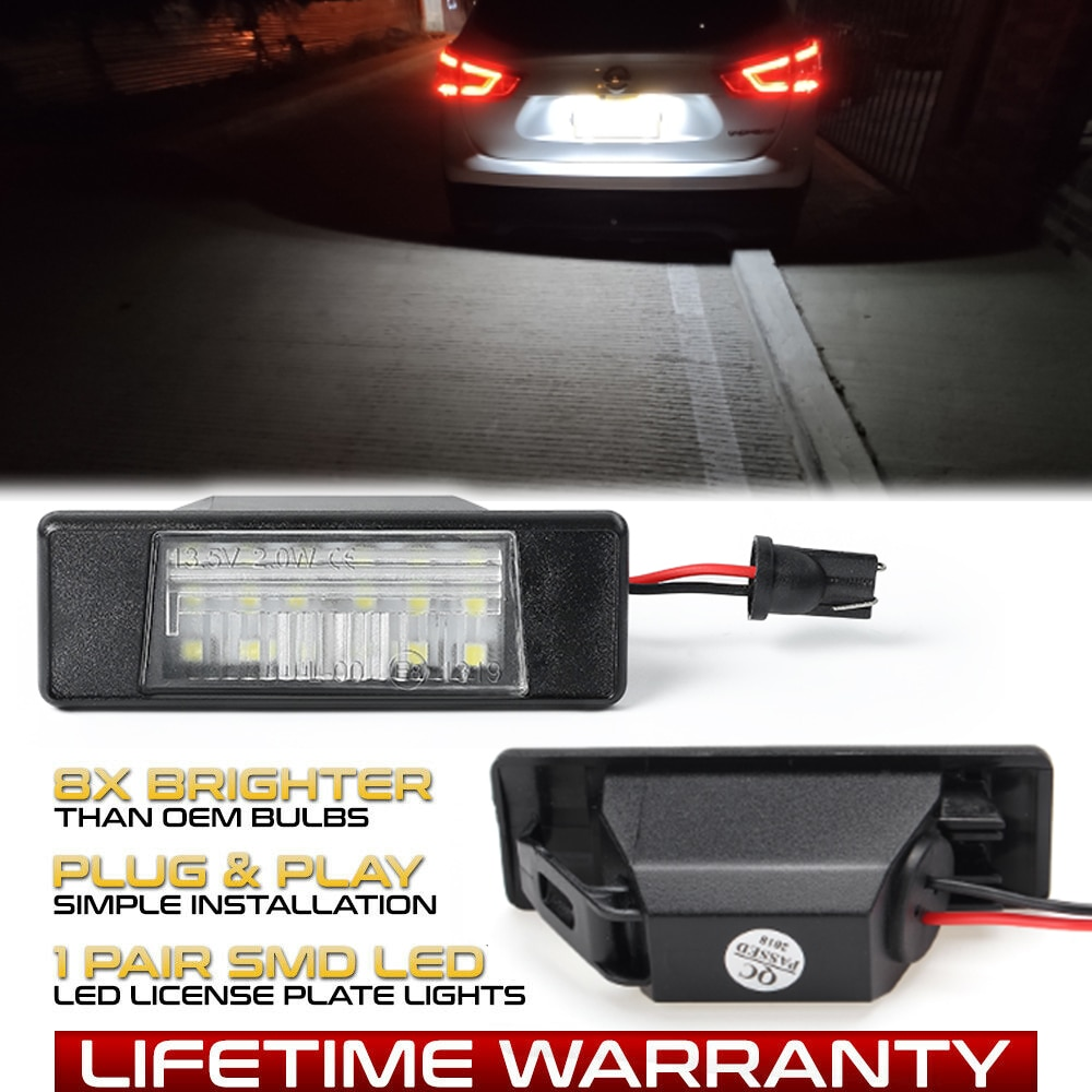 2 lámparas de LED para placa de matrícula de xenón sin Error para Nissan Teana 32 Juke F15 Nismo March Versa Note NV200 Infiniti Q50