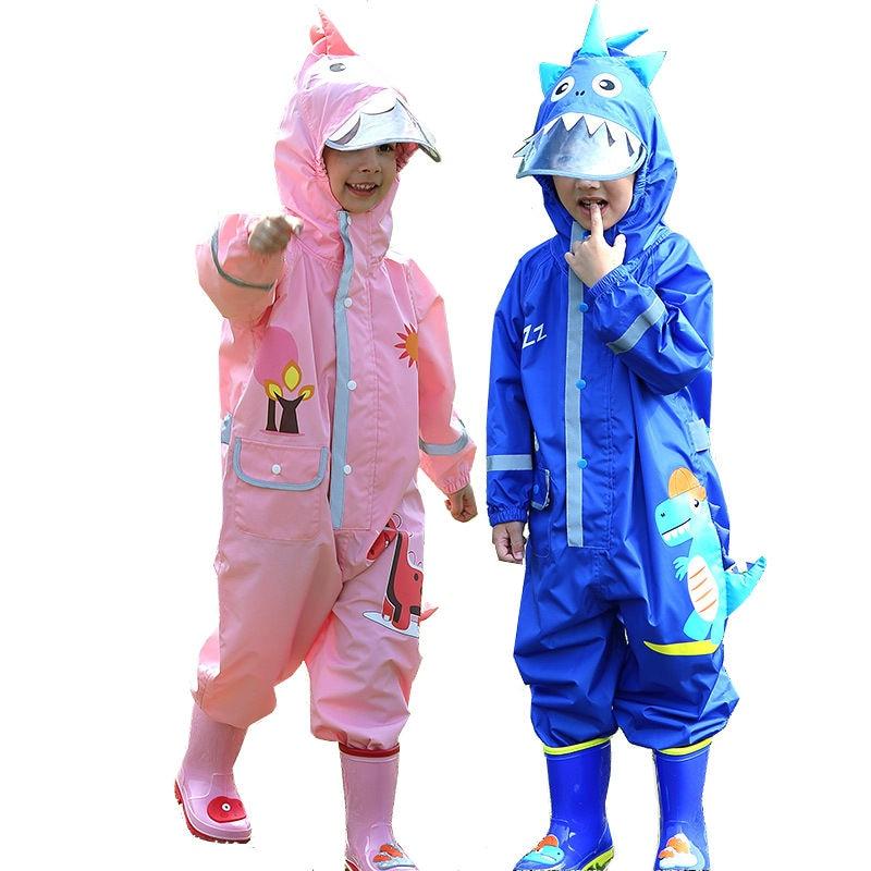Children Rain Pants Waterproof Cartoon Dinosaur Design Rain Coat Kids Jumpsuit Overalls For Baby Boys Girls 90-135 Cm Rainwear