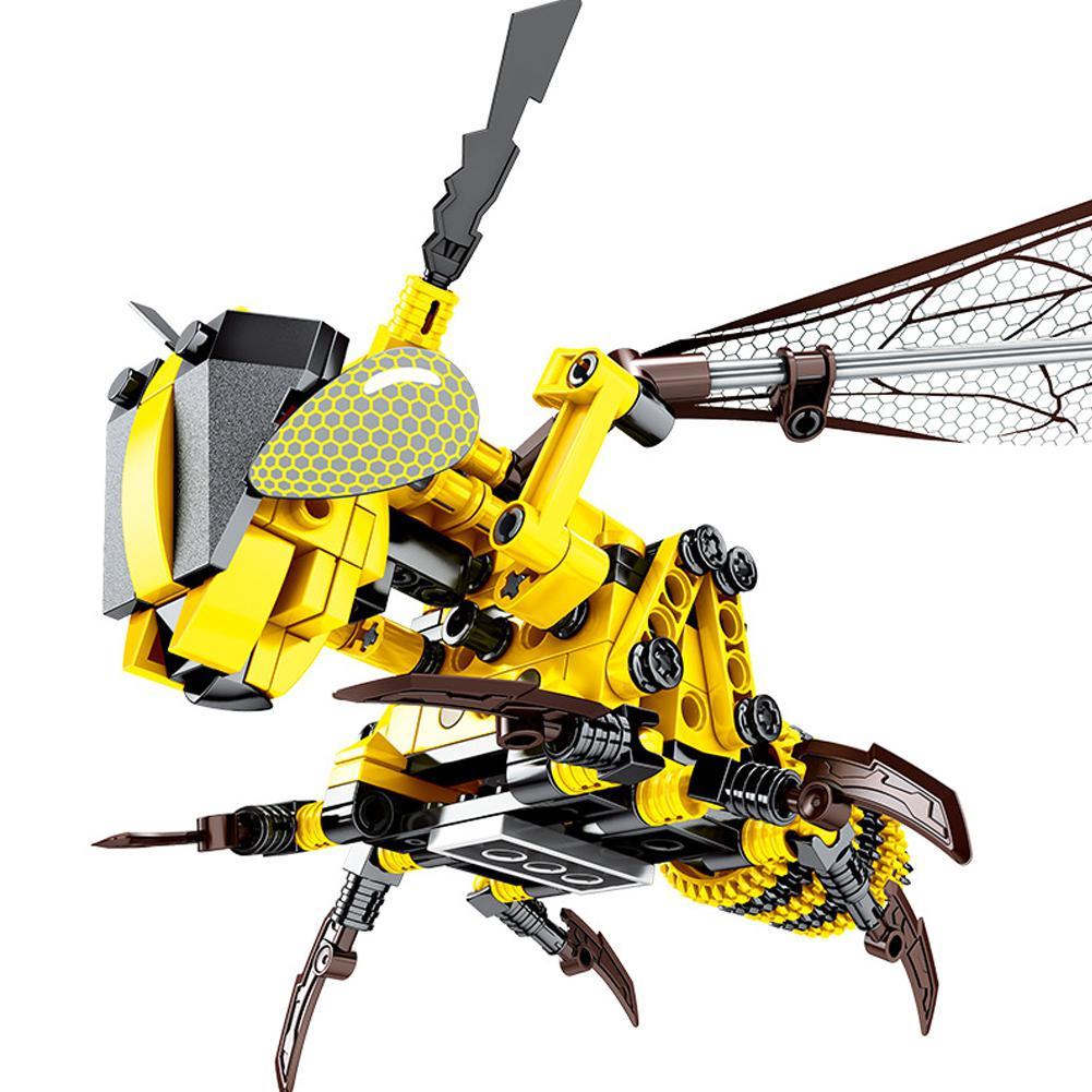 Los niños de los niños insecto serie amarillo abeja rojo abeja libélula mecánica Juguetes de bloques de construcción
