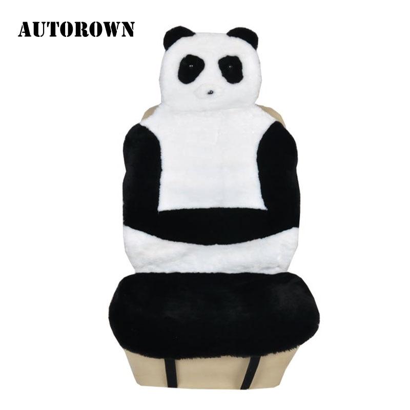 AUTOROWN Faux Fur Material Universal tamaño lindo Panda funda protectora para asiento de coche fácil de instalar accesorios interiores 2018 nuevo