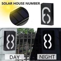solar led light house number lamp outdoor doorplate address door number waterproof with solar rechargeable battery