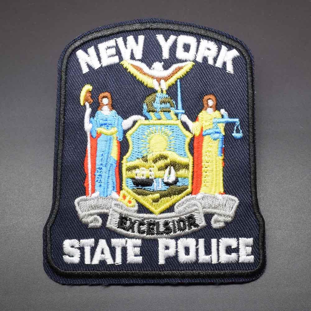 O ferro da polícia do estado de nova iorque em remendos bordados da roupa para a roupa etiqueta o vestuário por atacado