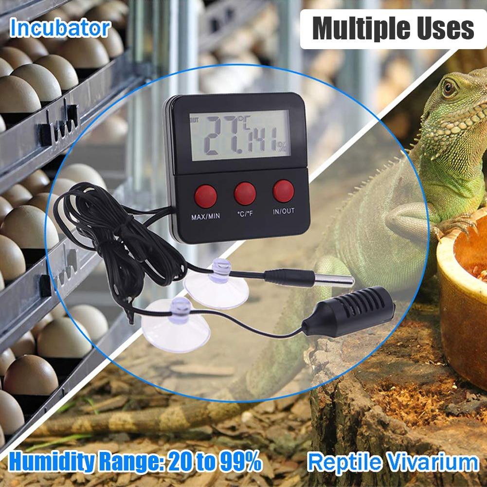 Electronic Thermometer Hygrometer Digital LCD Display Temp Humidity Monitor Meter For Egg Incubator Reptile Tanks Incubator